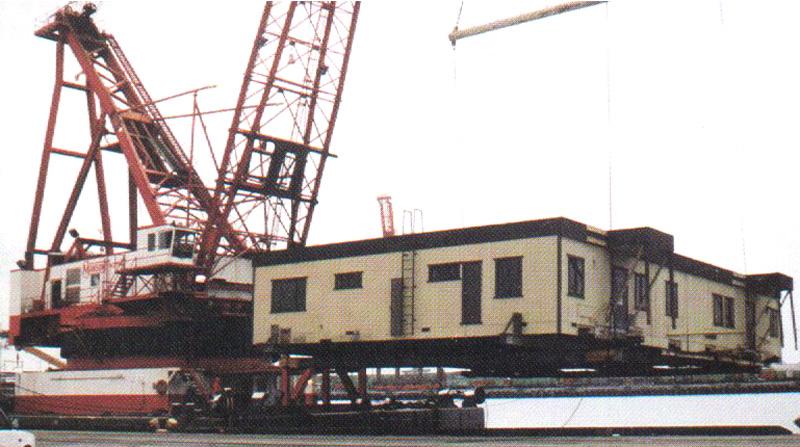 Crane lift of office building